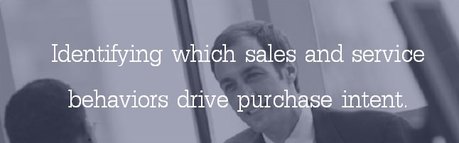 Identifying which sales and service behaviors drive purchase intent.