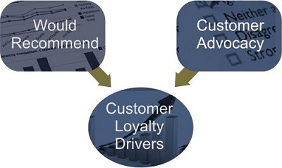Would Recommend and Customer Advocacy Feed Customer Loyalty Analysis.